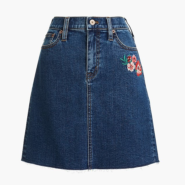 J.Crew Factory: Raw edge embroidered denim mini skirt
