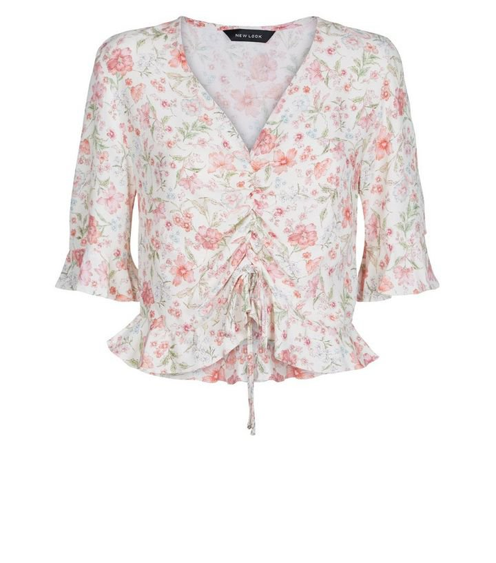 White Floral Ruched Frill Top | New Look