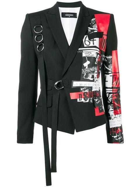Dsquared2 Punk print buckled blazer