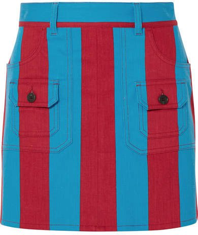 Striped Denim Mini Skirt - Blue