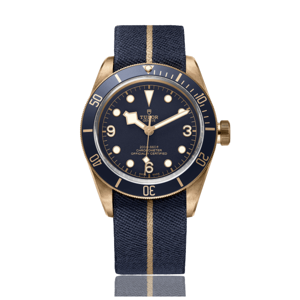 Blue and bronze watch