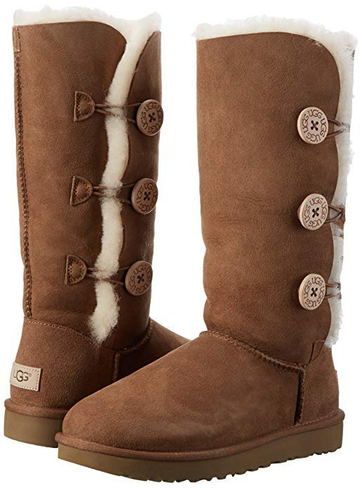Amazon.com | UGG Women's Bailey Button Triplet II Winter Boot, Chestnut, 8 B US | Mid-Calf