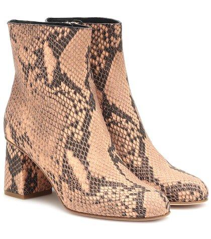 RED (V) snake-effect ankle boots