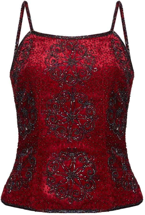 HASANOVA - Sequin Embellished Red Velvet Cami