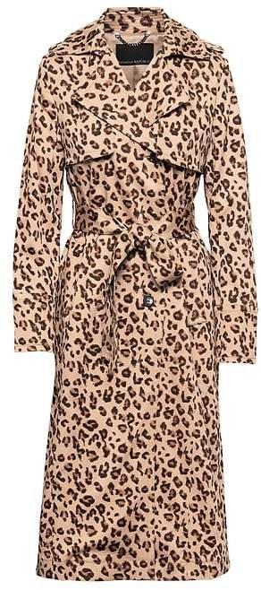 Leopard Print Maxi Trench Coat