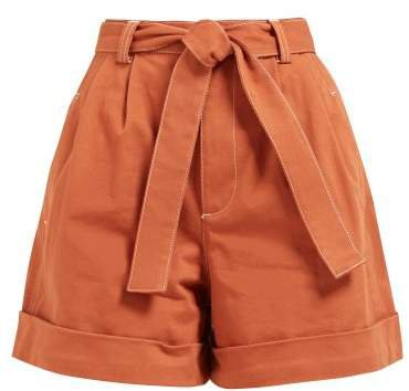 Contrast Stitch Wide Leg Denim Shorts - Womens - Light Brown
