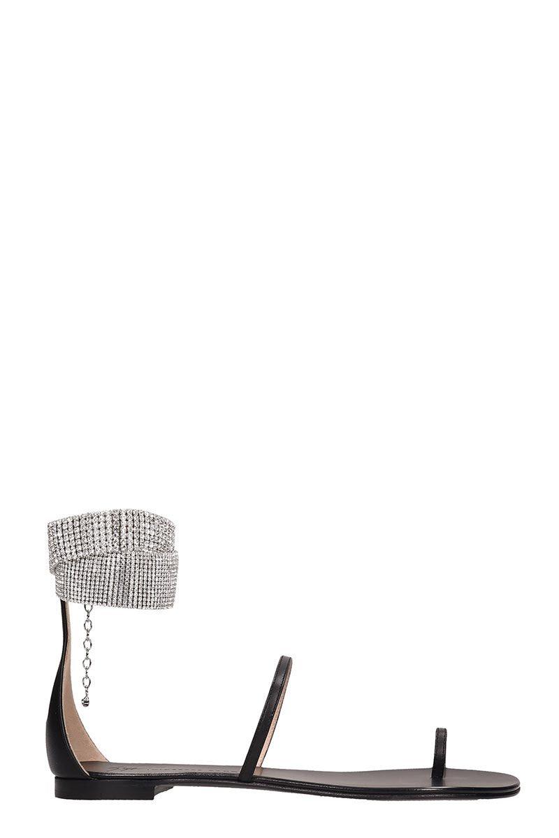 Giuseppe Zanotti Black Leather Flats Sandals