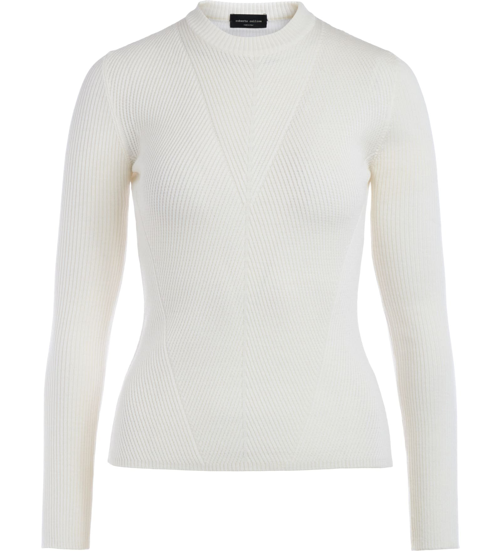 Roberto Collina Ecru Sweater With Ribbed Motifs