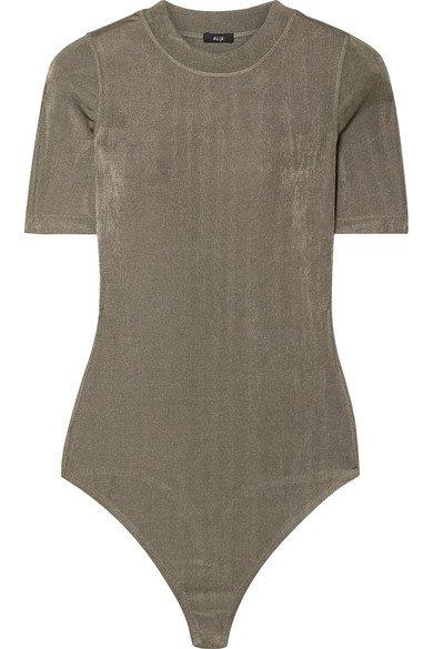 Alix | Ridge metallic stretch-jersey thong bodysuit | NET-A-PORTER.COM
