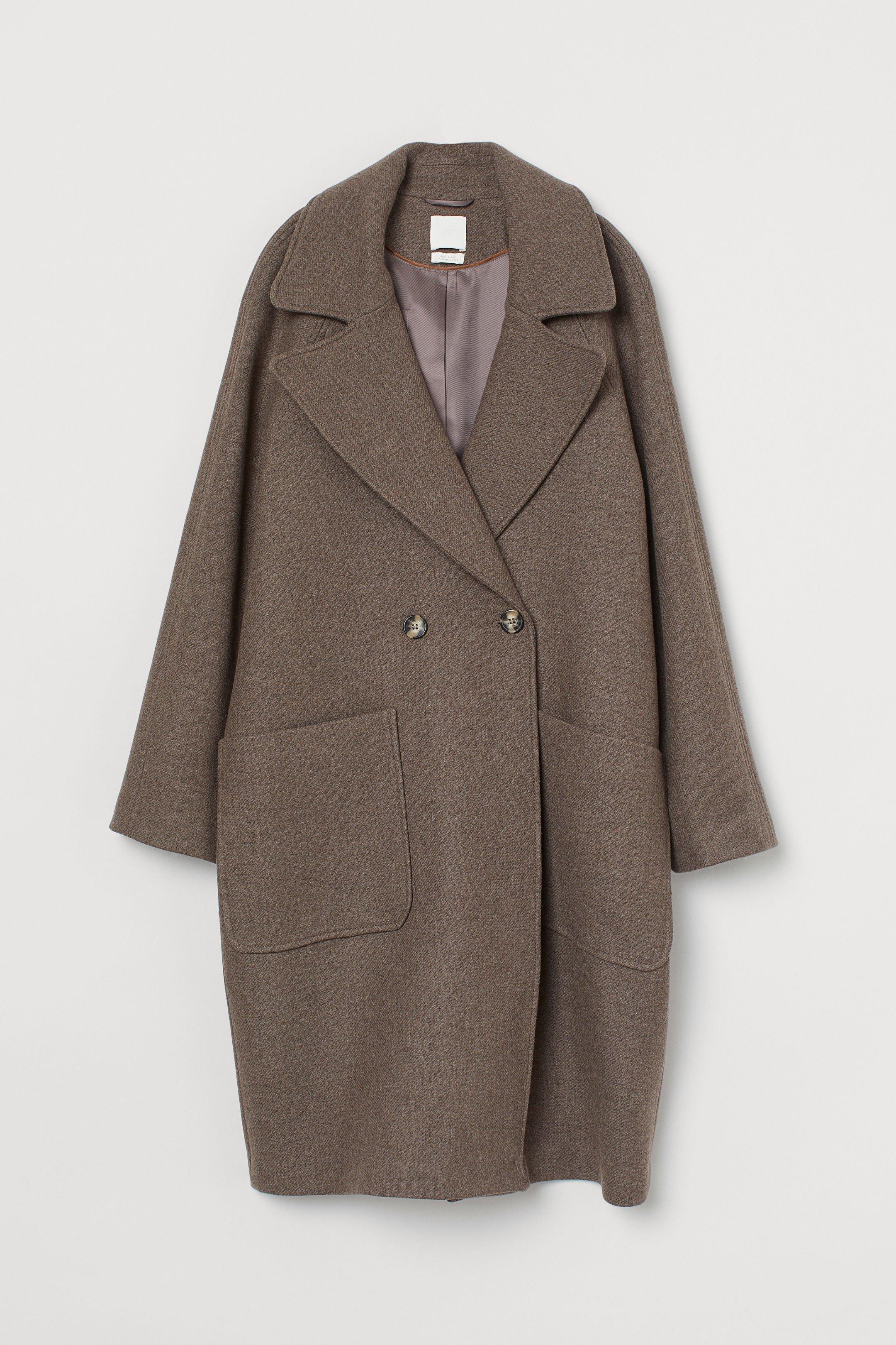 Wool-blend coat - Brown marl - Ladies   H&M GB