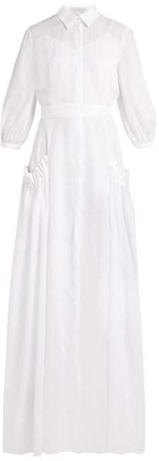 Cervantes Pleated Linen Long Dress - Womens - Ivory