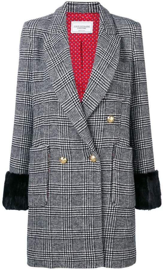 Forte Dei Marmi fur trim Glen check coat