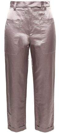 Cropped Satin-twill Tapered Pants
