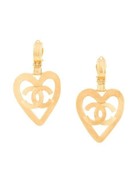 Chanel Vintage Heart Cutout CC Earrings