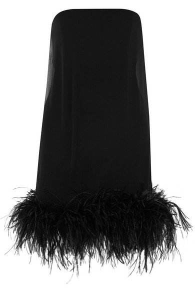 Saint Laurent | Feather-trimmed chiffon mini dress | NET-A-PORTER.COM