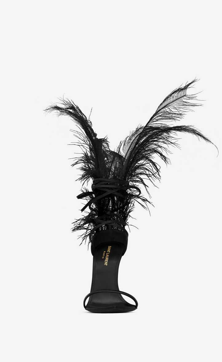 Saint Laurent Iris 105 Sandal In Black Leather And Black Ostrich Feathers