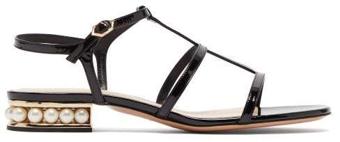 Casati Pearl Heeled Patent Leather Sandals - Womens - Black