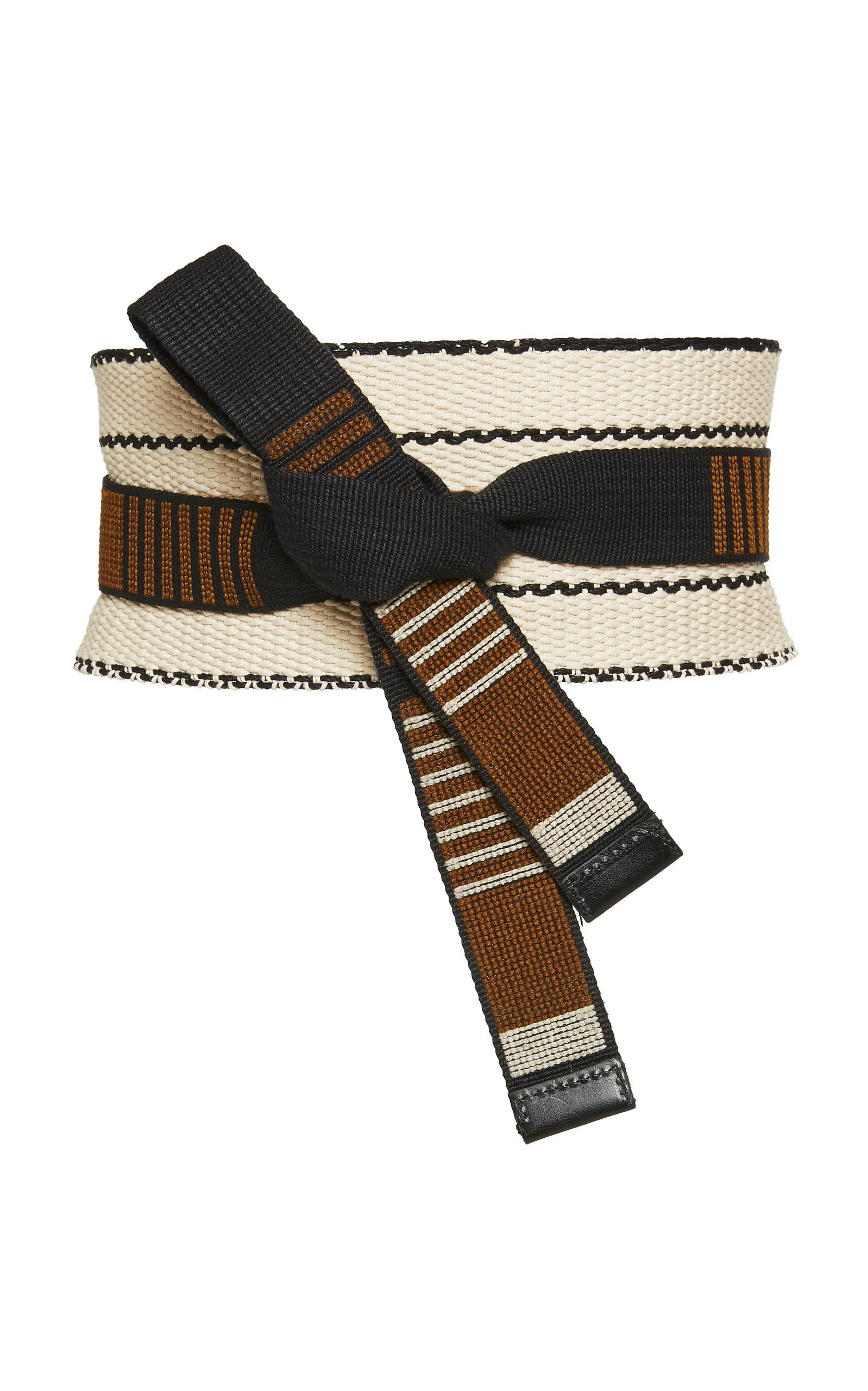 Etro Leather-Trimmed Knotted Cotton-Canvas Belt
