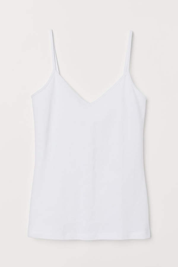 V-neck Cotton Tank Top - White