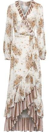 Bytimo Ruffled Floral-print Fil Coupe Georgette Maxi Wrap Dress