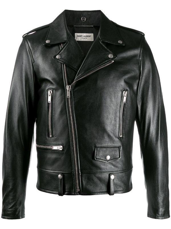 Saint Laurent Studded Slogan Biker Jacket - Farfetch