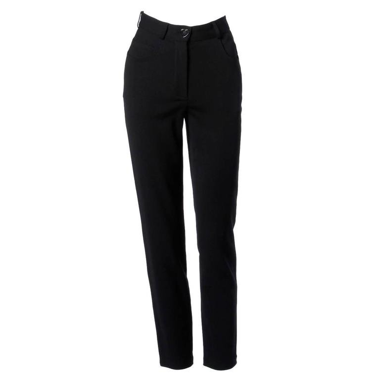 Moschino Vintage Black Wool High Waisted Pants with Heart Button For Sale at 1stdibs