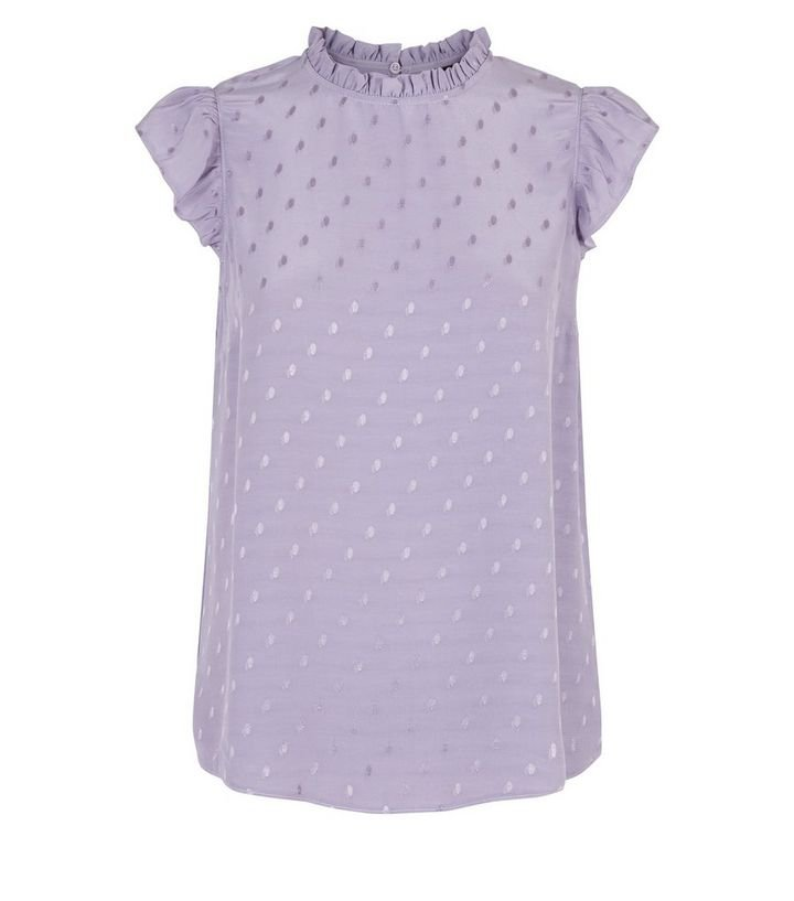 Lilac Jacquard Spot Sleeveless Top | New Look