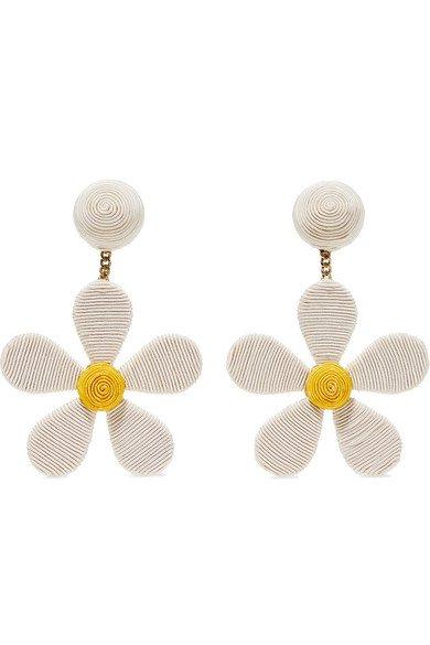 Rebecca de Ravenel   Daisy cord clip earrings   NET-A-PORTER.COM
