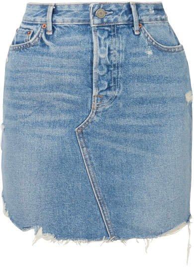Rhoda Distressed Denim Mini Skirt - Mid denim