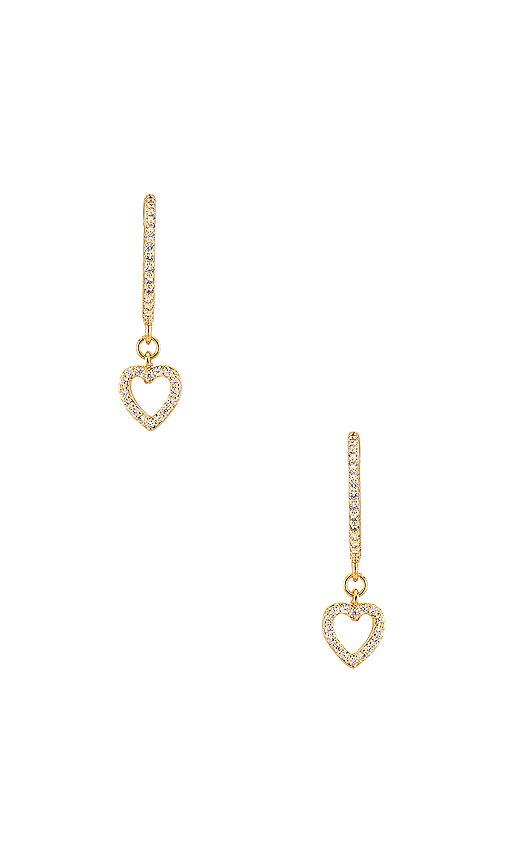 Ettika Heart Dangle Earring in Clear & Gold | REVOLVE