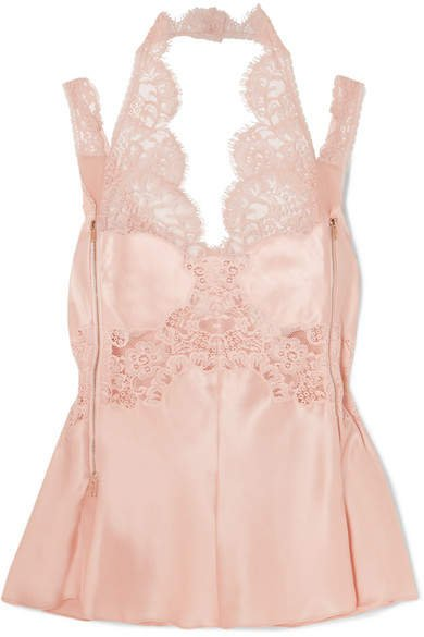 Zip-detailed Lace-trimmed Silk-satin Camisole - Blush