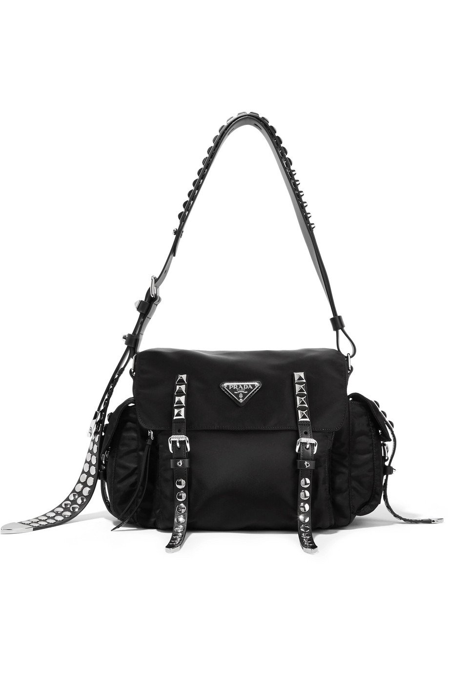 Prada | Studded leather-trimmed shell shoulder bag | NET-A-PORTER.COM