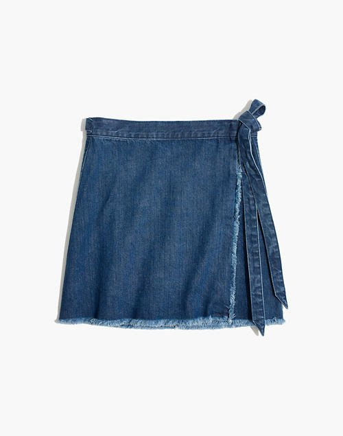Raw-Hem Mini Wrap Skirt in Cardiff Wash Blue