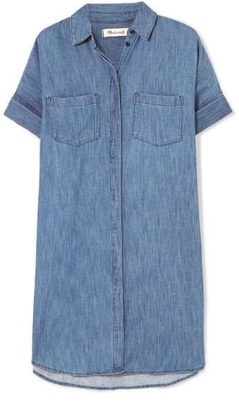 Courier Cotton And Linen-blend Chambray Shirt Dress - Blue