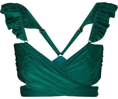 PatBO - Ruffled Bikini Top - Teal