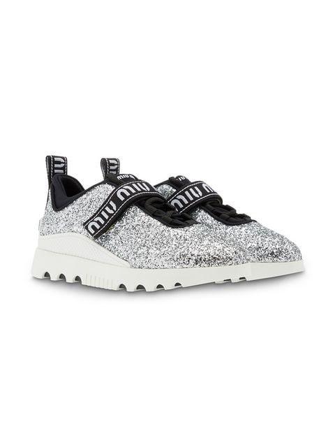 Miu Miu Miu Run glitter sneakers