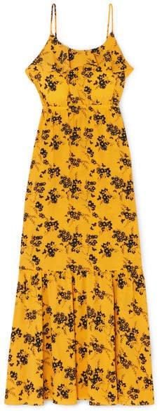 Ruffled Floral-print Crepe Midi Dress - Yellow
