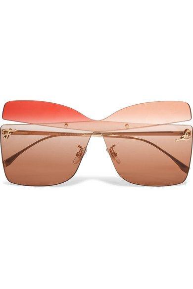 Fendi   Oversized square-frame gold-tone sunglasses   NET-A-PORTER.COM