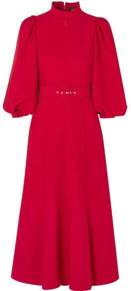 Belted Crepe Midi Dress - Red