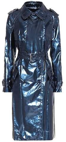 Metallic vinyl trench coat