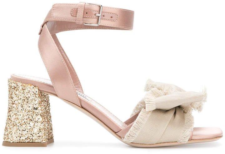 glittered block heel sandals