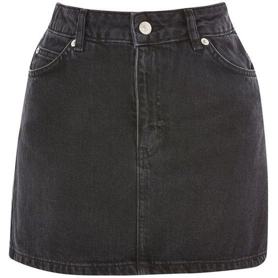 TopShop Moto Black Denim Mini Skirt