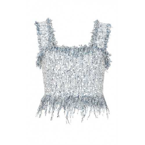 Balmain Women Destroyed Strap Crop Top grey Fringe hem Sleeveless 675756 BEIFNKD