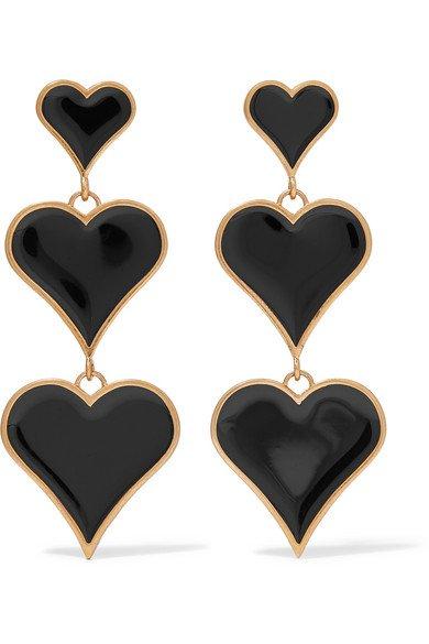 SAINT LAURENT   Gold-tone and enamel clip earrings   NET-A-PORTER.COM