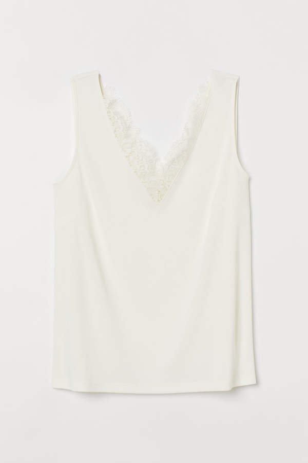 Sleeveless Lace-detail Top - White