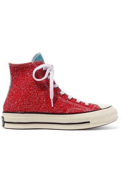 Converse | + JW Anderson Chuck Taylor All Star 70 glittered canvas high-top sneakers | NET-A-PORTER.COM