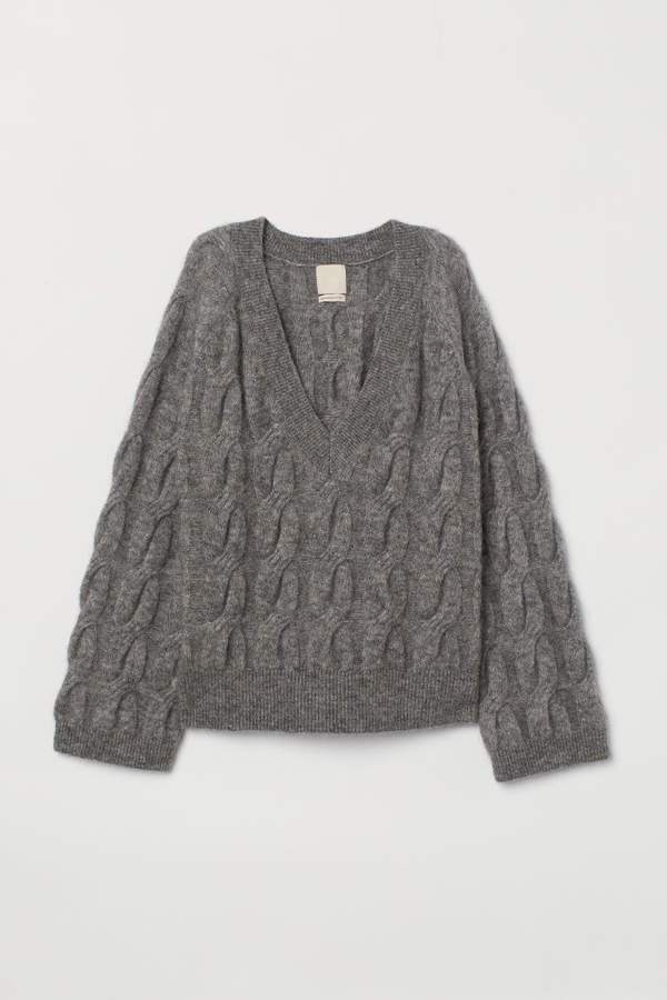 Cable-knit Wool-blend Sweater - Gray