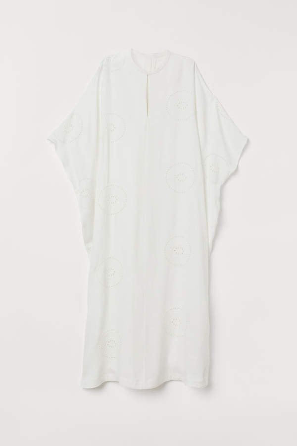 Kaftan with Eyelet Embroidery - White