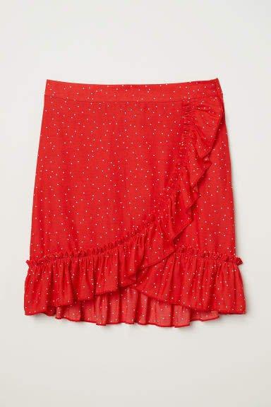 Flounced Skirt - Red