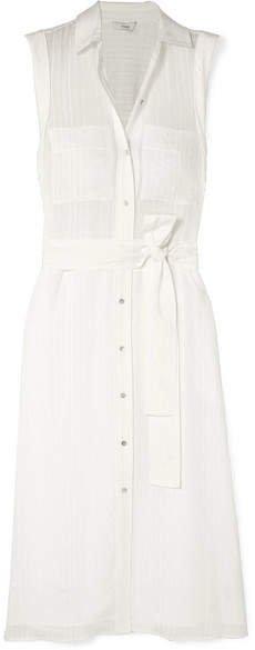 Striped Voile Midi Dress - White